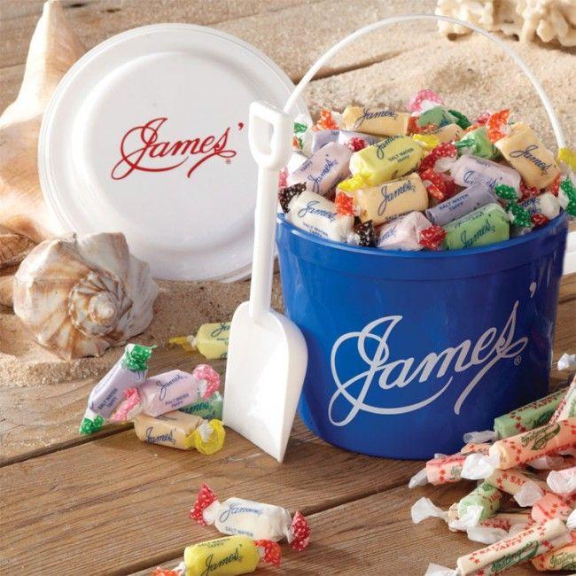 James Beach Bucket Of Salt Water Taffy Salt Water Taffy Taffy Beach Candy