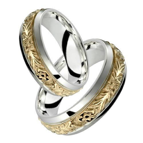 Orazio Stunning Two Tone Comfort Fit Wedding Band for Him Her