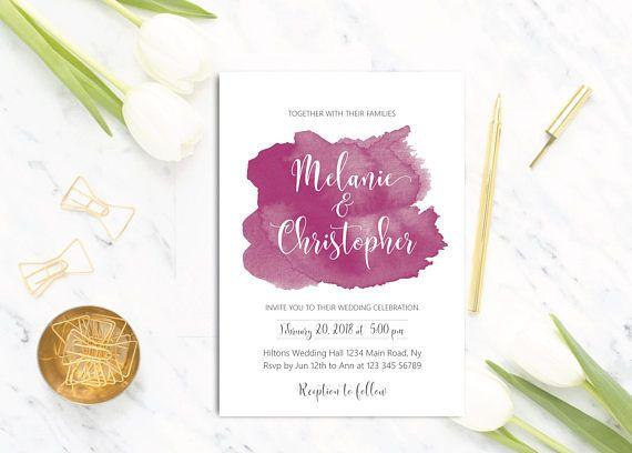 Wedding Invitation Printable Burgundy Maroon Watercolor Wedding