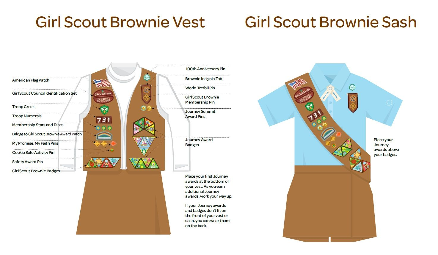 Girl Scout Brownie Vest and Sash Insignia Placement | Girl Scout ...