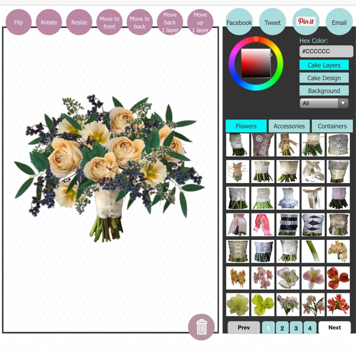 Wedding Bouquets Without Flowers: Design Wedding Bouquets Online! Virtual Wedding Creator