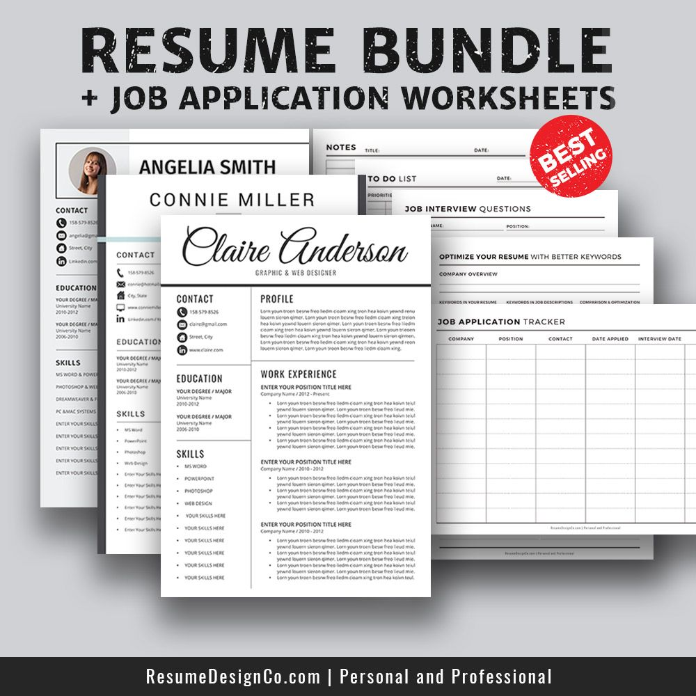 BestSelling Resume Bundle And Job Application Worksheets The