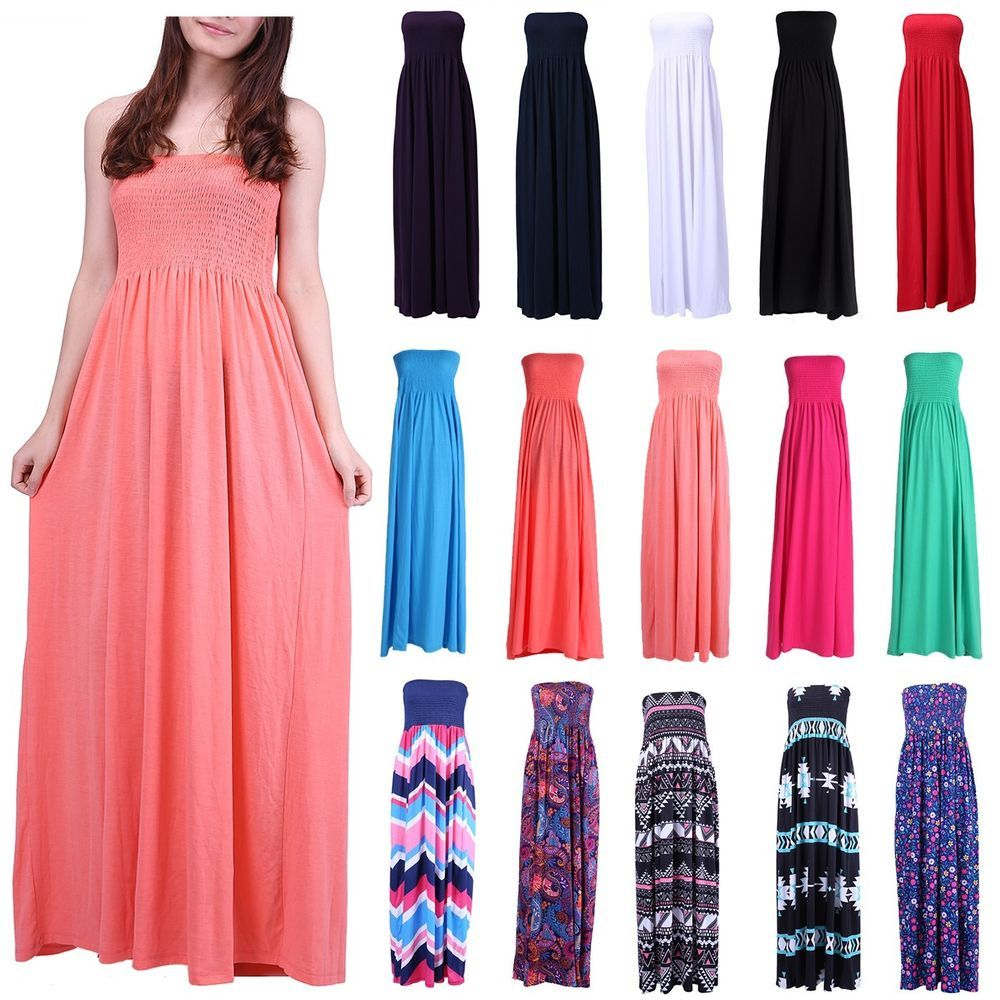 Details about Women\'s Strapless Maxi Dress Plus Size Tube Top Long ...
