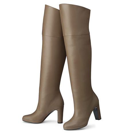 """hermes ladies' boot in sepia calfskin 33"""" heel  hermes"""
