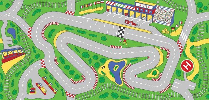 Racetrack Playmat For Kids Car Play Carpet 49