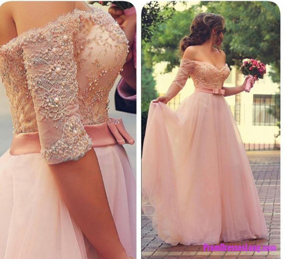 Lace prom dressesprincess prom dressball gown prom gownpink prom