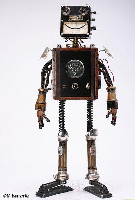 "Found object retro robot. ""Jones"" by Rivamonte Robots."