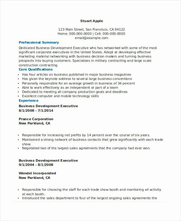 24 Best Executive Resume Templates Pdf Doc: Business Development Executive Resume Inspirational