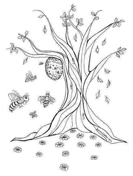Drawing of wild bee hive by Donna Walker | Teacher ...