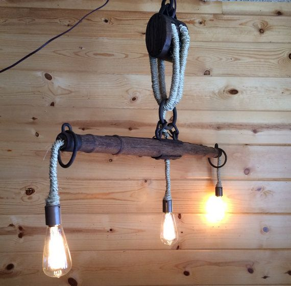 The Rustic Sailor Pulley Pendant Light Wooden Pulley By: Rustic Light Industrial Chandelier Rope Pulley Yoke Wood