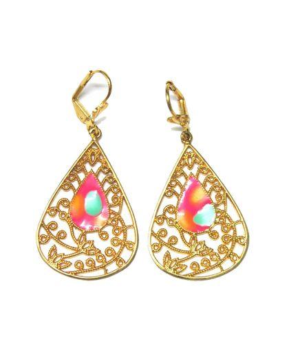 Pink & Blue Enamel Filigree Earrings