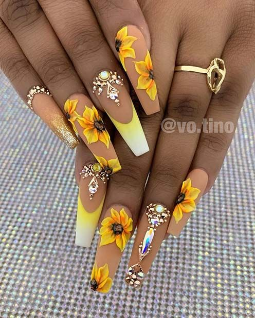 23 Sunflower Nails That Will Make Everyone Jealous