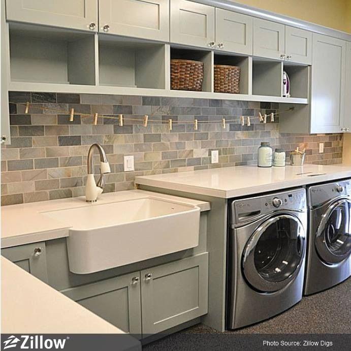 I Like The Mosaic Backsplash In This Laundry Room Farmhouse SinksCabinet