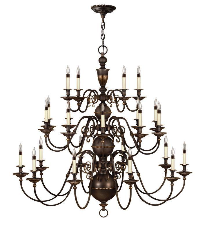Hinkley Lighting H4419 Cambridge 25 Light 3 Tier Candle Style Chandelier Olde Bronze Indoor Lighting Chandeliers