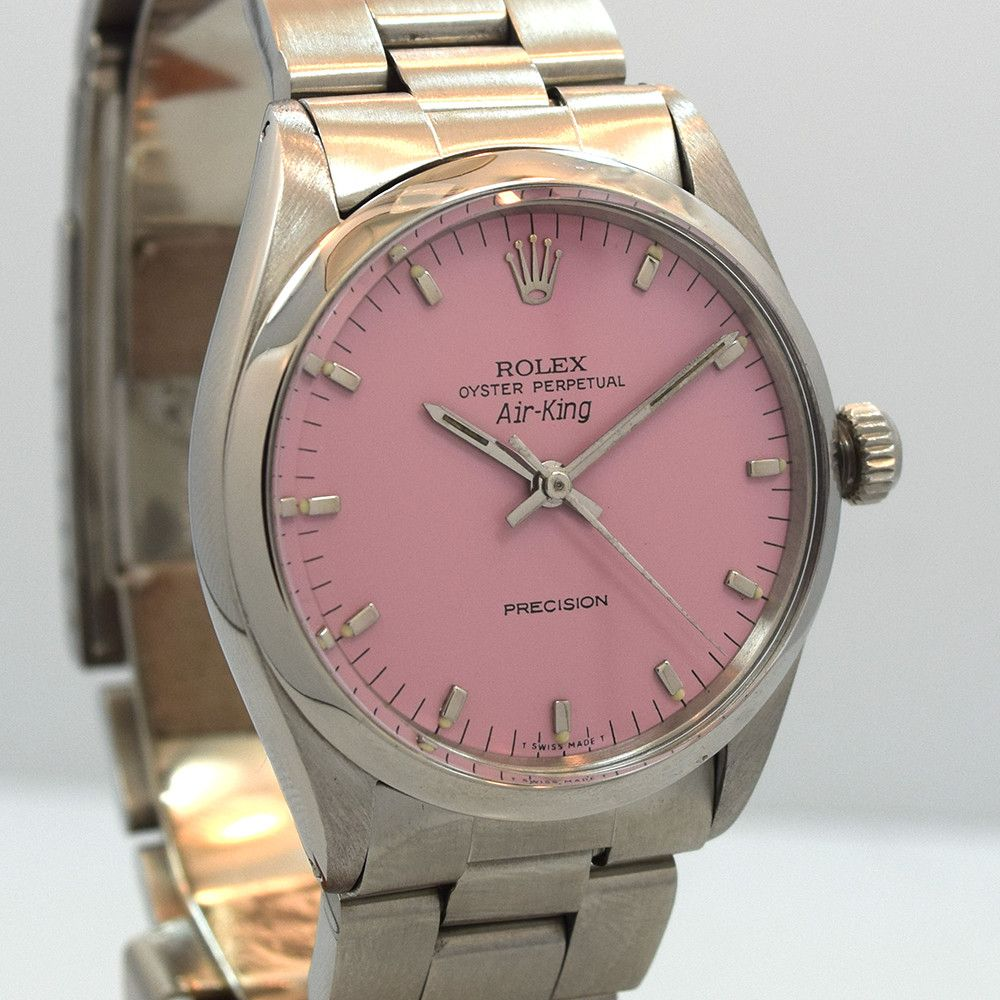 untouched a complete and unpolished vintage rolex air king 5500 custom pink dial