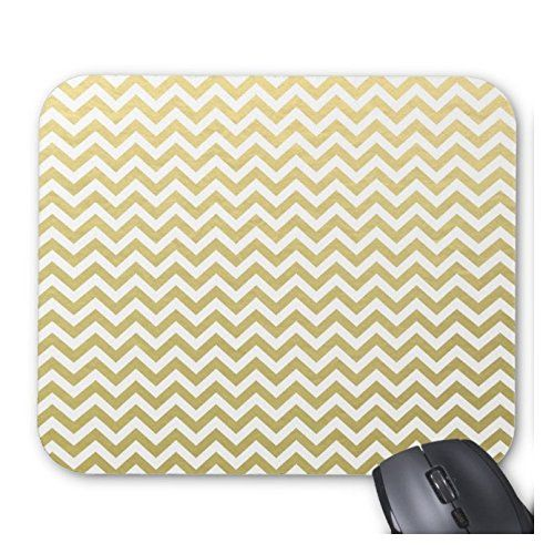Gold Foil White Chevron Pattern Personalized Anti Slip Computer Mouse Pad Support For Wireless Mouse Optical Mouse Durable Office Accessory And Gift