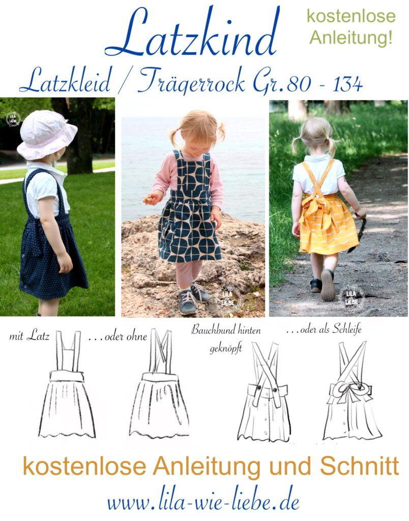 "Photo of Freebook ""Latzkind"" – bib dress / strap skirt size. 80-134 – Purple like love"
