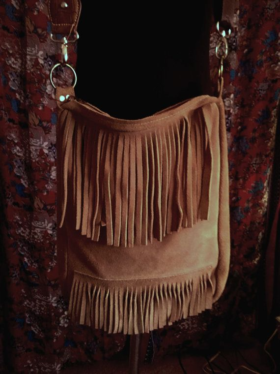 tan suede boho fringe crossbody purse  by GypsyVixensVintage