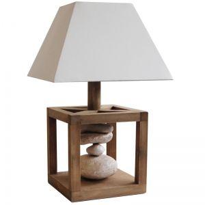lampe d co contemporaine avec pied en bois et. Black Bedroom Furniture Sets. Home Design Ideas