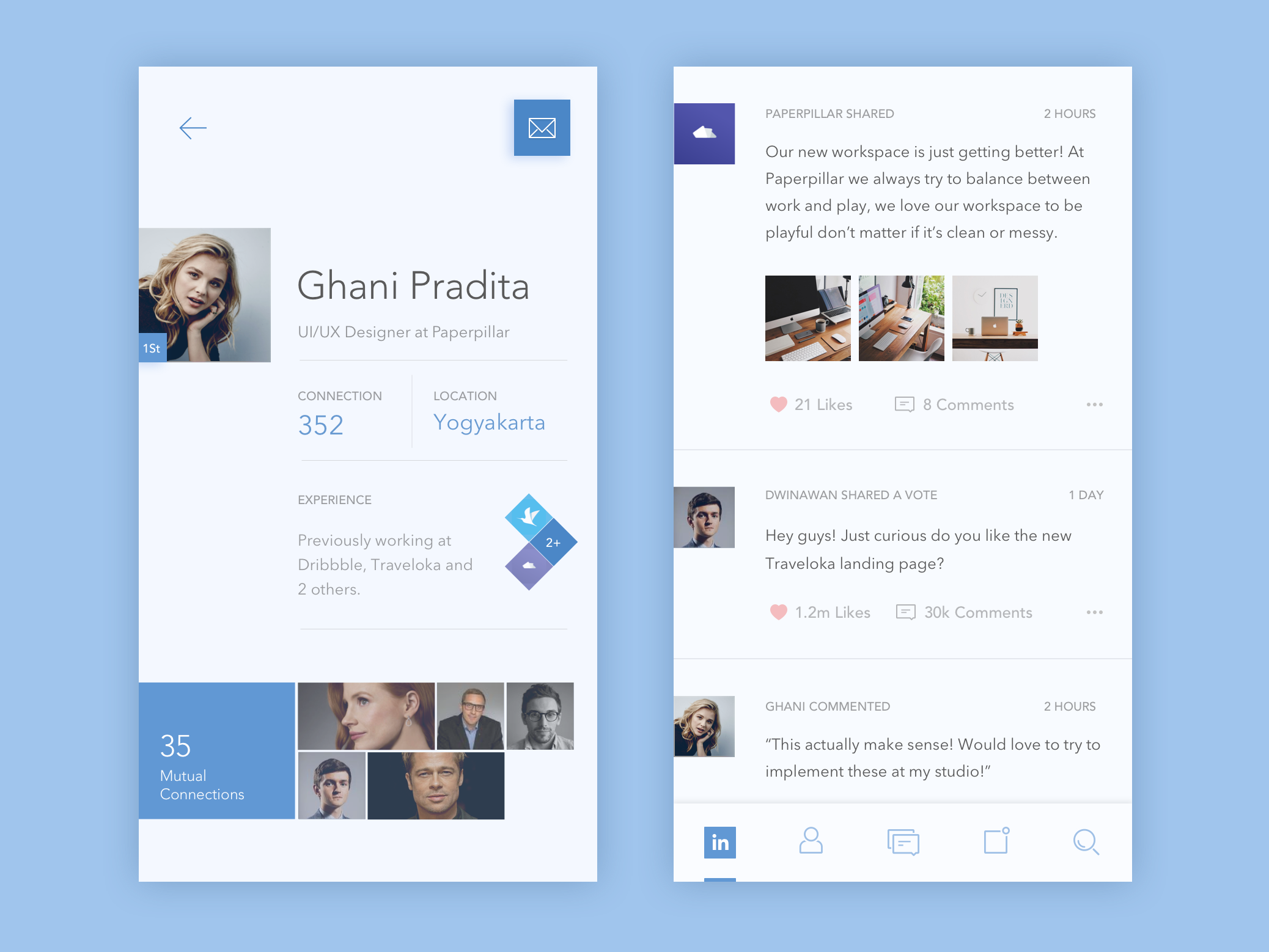 LinkedIn Redesign Concept Ios app design, App design