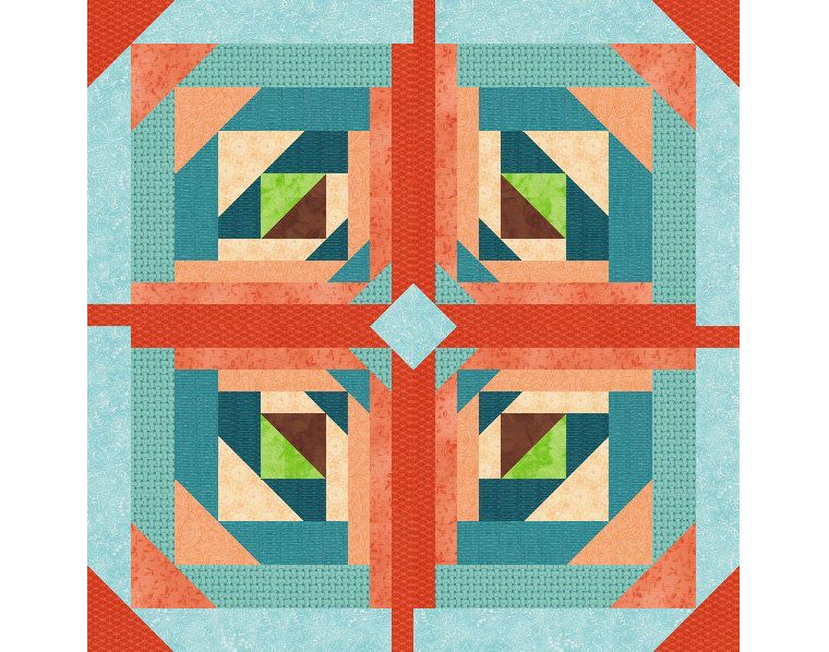 Logging On, Paper Pieced Quilt Block Pattern, log cabin quilt ... : easy log cabin quilt pattern - Adamdwight.com