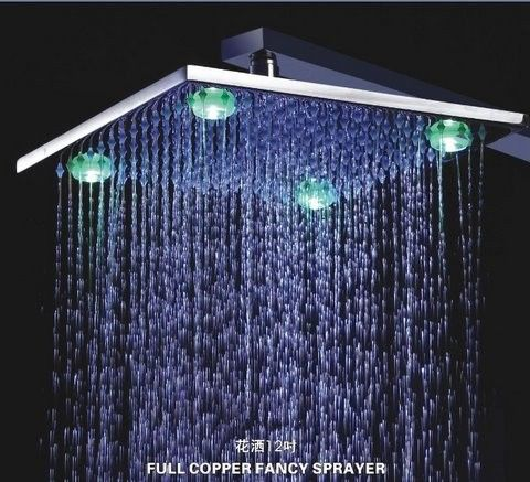 Sumerain S4030cle 12 Inch Chrome Led Rainfall Shower Head Led Shower Head Contemporary Shower Shower Heads