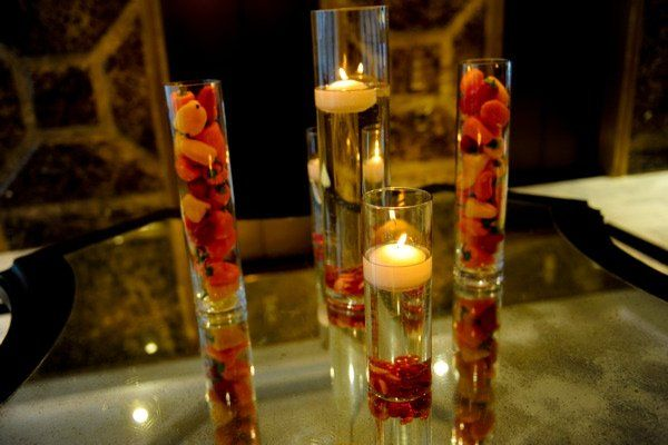 An Added Touch Flowers - chili pepper and floating candle centerpiece - San Francisco, CA, United States