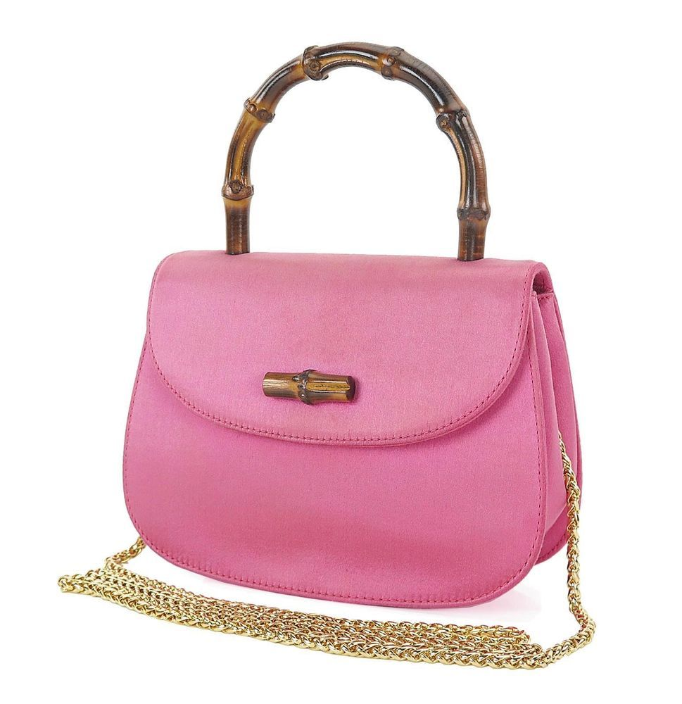 Authentic GUCCI Pink Satin Bamboo Handle Shoulder Hand Bag Purse ...