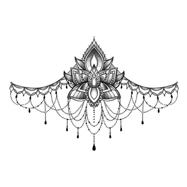 Lotus Flower Underboob - Temporary Tattoo / Lotus