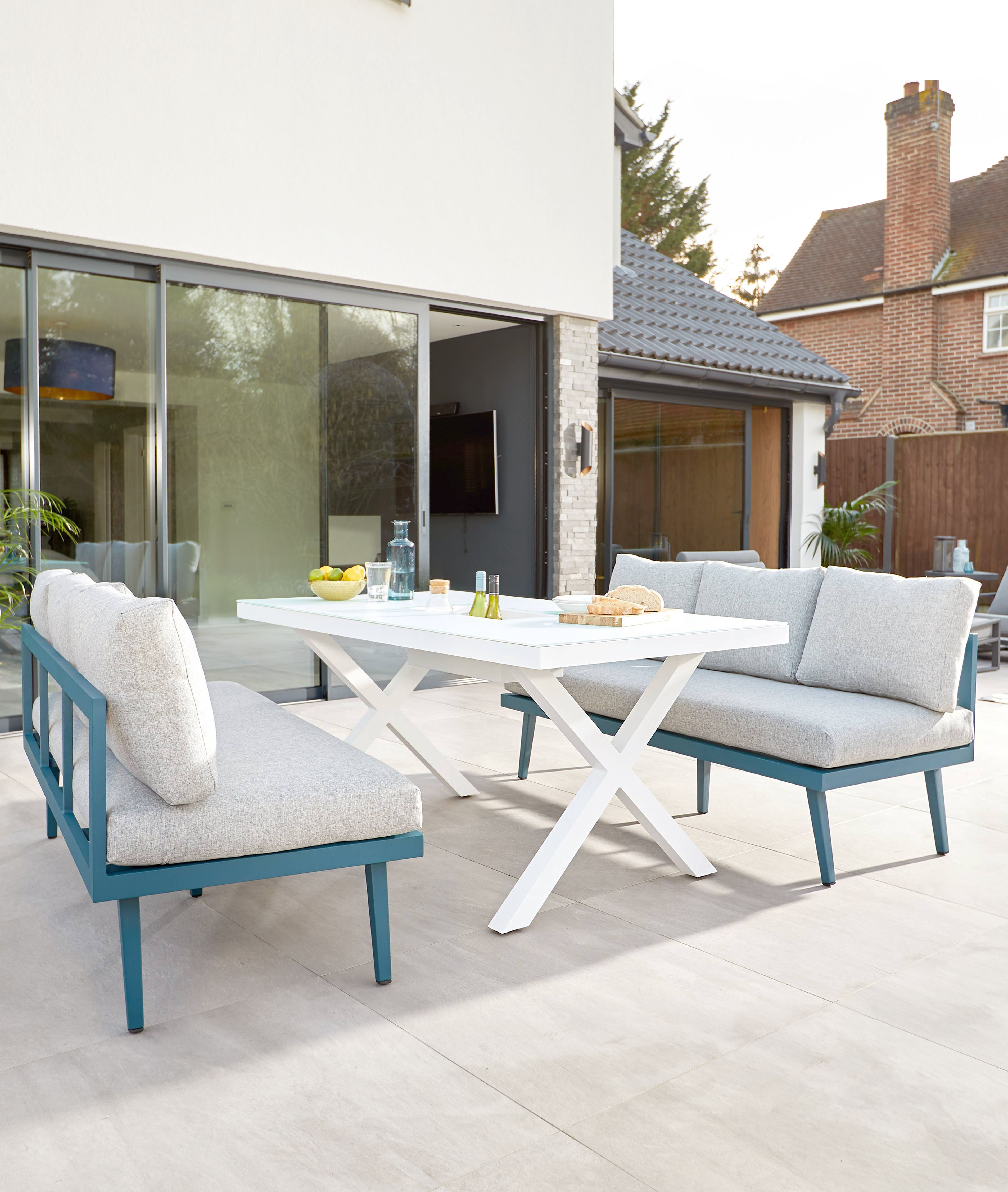 Rio White 6 Seater With Palermo Ocean Bench Outdoor Dining Set In