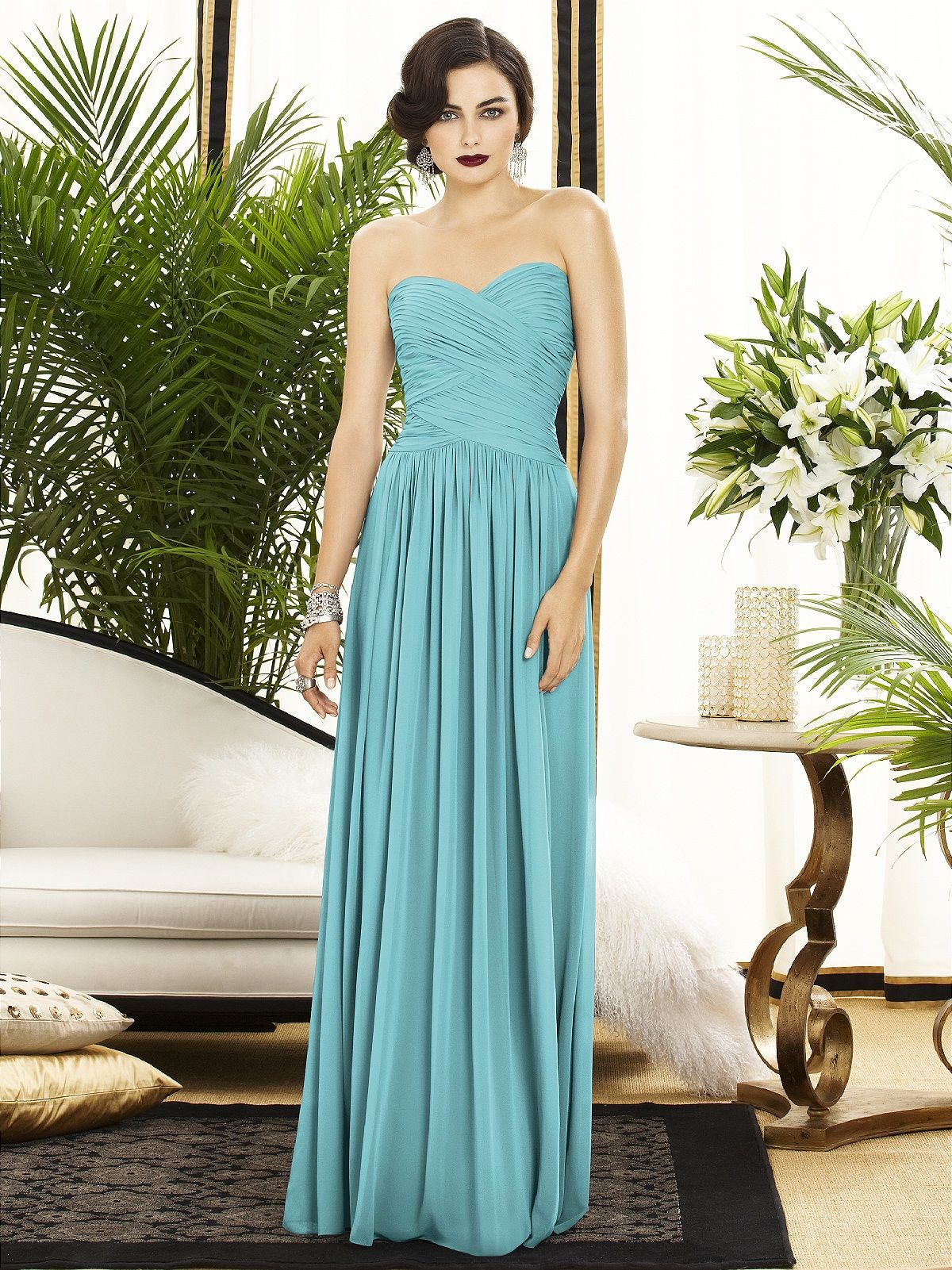 Dessy collection style turquoise bridesmaid dresses wedding