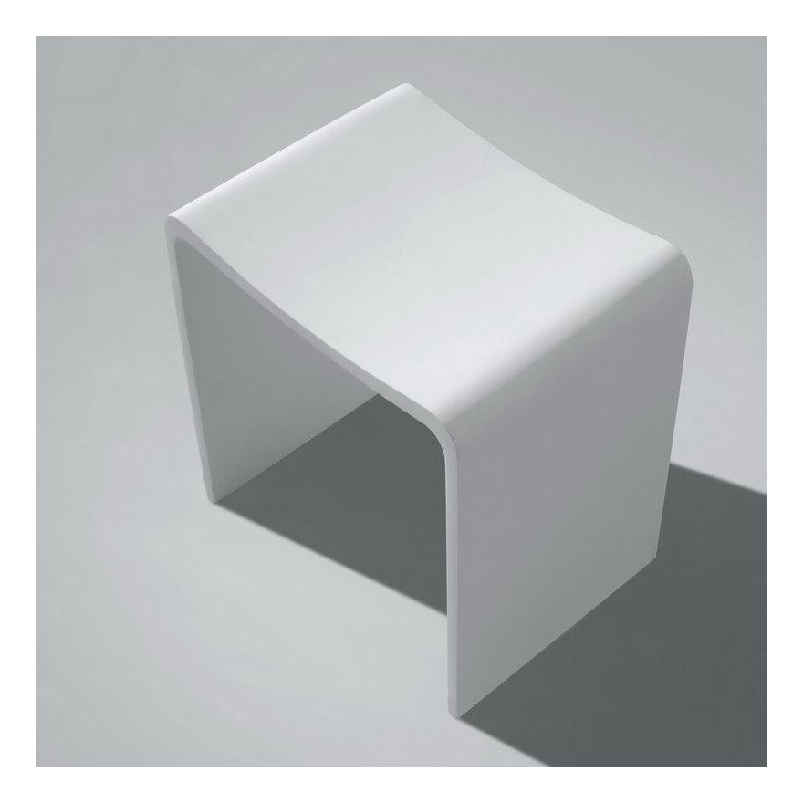 Tabouret de Salle de Bain - Solid surface Blanc Mat - 40x43 ...