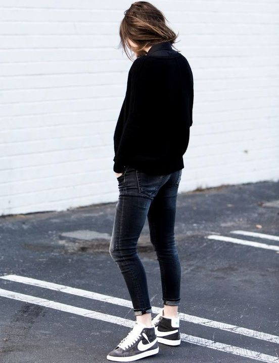 Le parfait total look noir et blanc (baskets Nike Blazer- | Looks