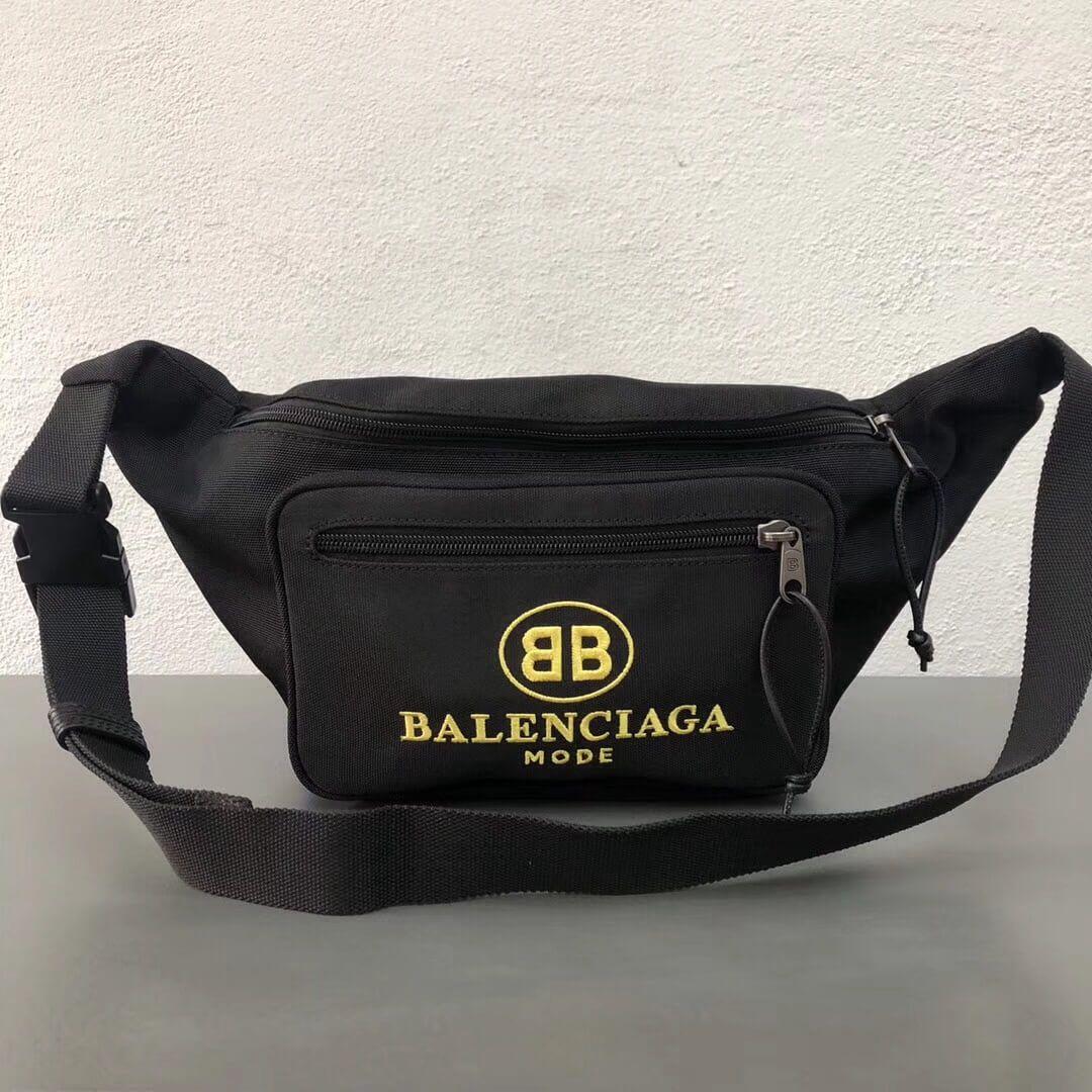 Balenciaga Cotton Canvas Explorer Belt Bag Black Yellow 2018 ... 04980f0f20fce