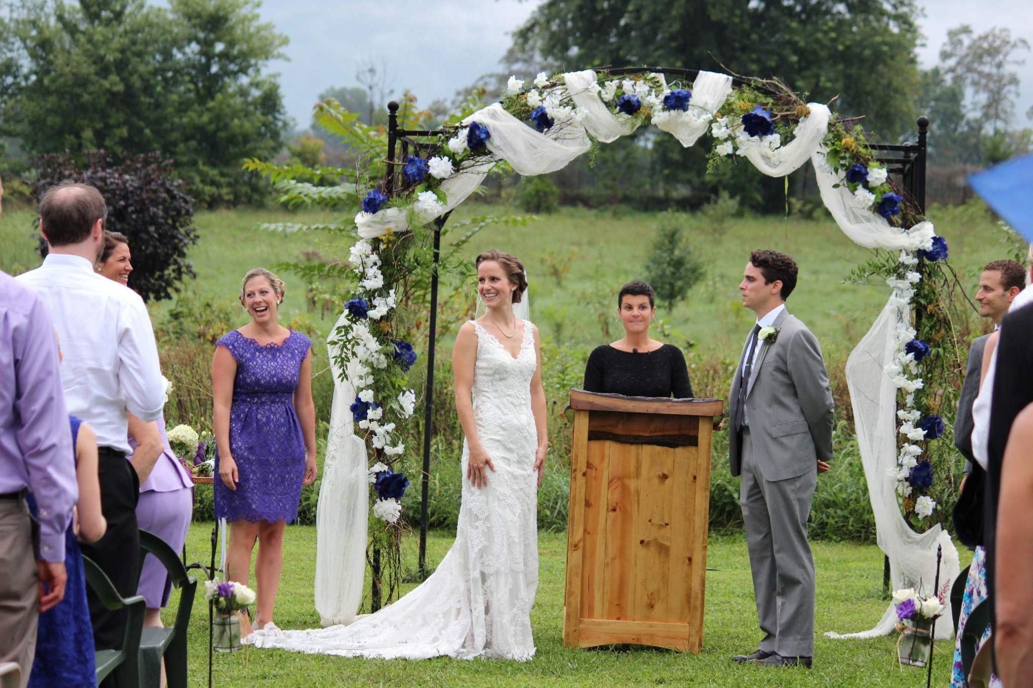 Sarah John S Gorgeous Arbor Decor With Walnut Podium Khimaira Farm Outdoor Barn Wedding Venuebarn Weddingswedding 2017shenandoah Valley Blue