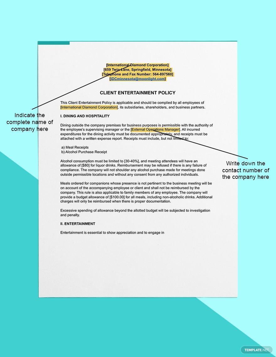Client Entertainment Policy Template Free Pdf Word Apple Pages Google Docs Policy Template Word Doc Lettering