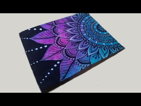 Mandala Drawing with Paint Marker & Gel Pen on Painted Paper