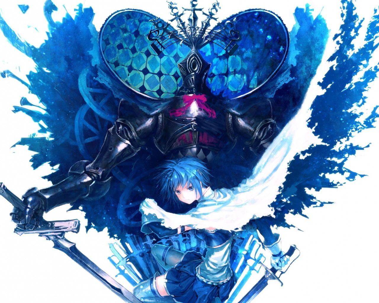 Download wallpaper art, lain, anime witch girl madoka