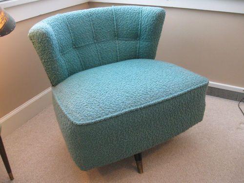 Vtg Mid Century Modern Kroehler Tub Barrel Swivel Chair 1950s Aqua
