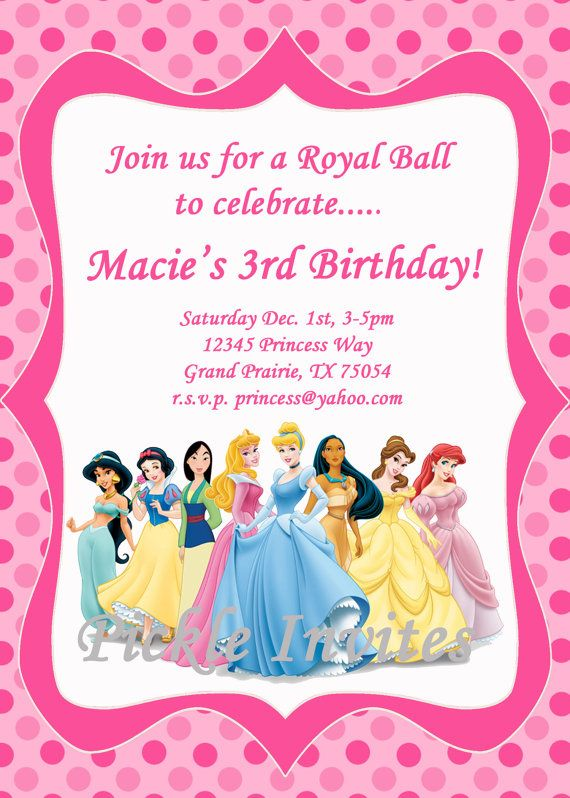 cinderella princess invitation and thank you card by pickleinvites, Birthday invitations