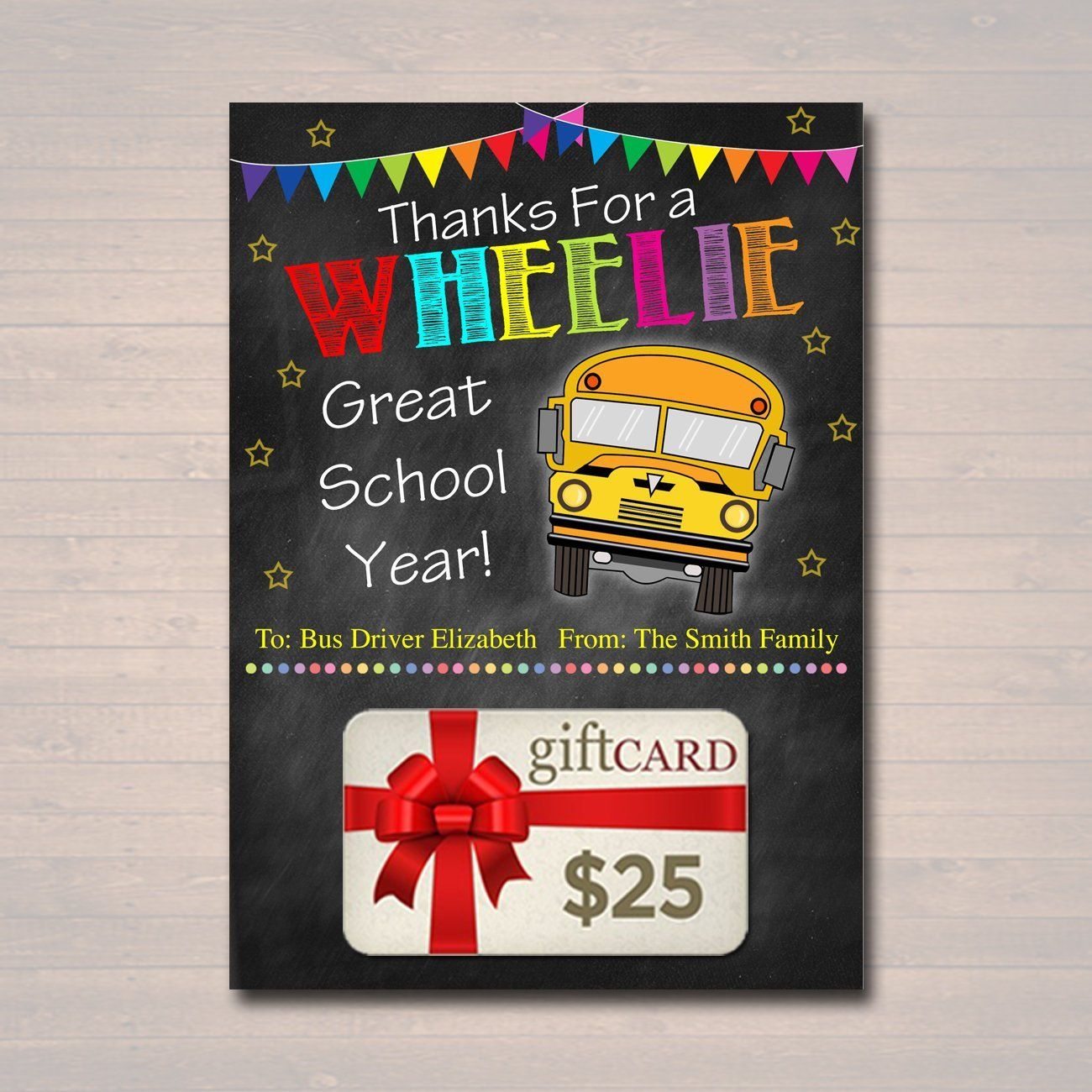 EDITABLE End of School Year Bus Driver Gift Card Holder, Printable Thank You Gift, Wheelie Great School's Out Bus Driver, INSTANT DOWNLOAD #eceappreciationgiftideas