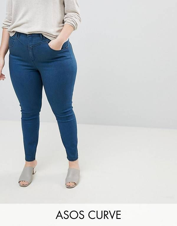 RIDLEY High Waist Skinny Jeans With Gia Styling In Freddie Dark Blue Wash - Mid wash blue Asos gvt4NYLU