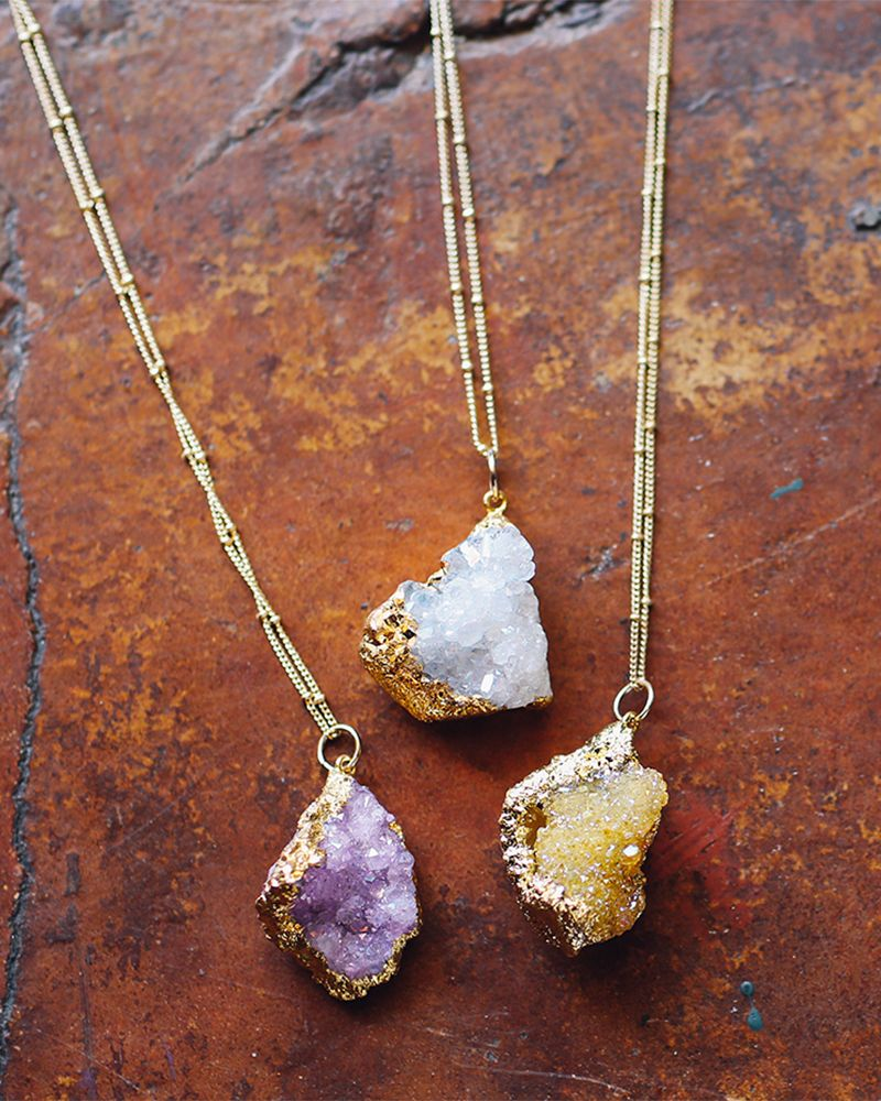 Gold Organic Druzy Pendant Necklace | Fashion Jewelry - Boho Chic - Long Necklaces - Stones - Holiday Celebration - Delicates | charming charlie