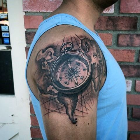 Upper arm compass and map travel inspired tattoos for for Compass tattoo arm