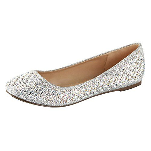 Womens Silver Glitter Flats Rhinestone Shoes Glitter Fabric Round Toe  Dressy Size 11 -- Click image to review more details. b258de4ea