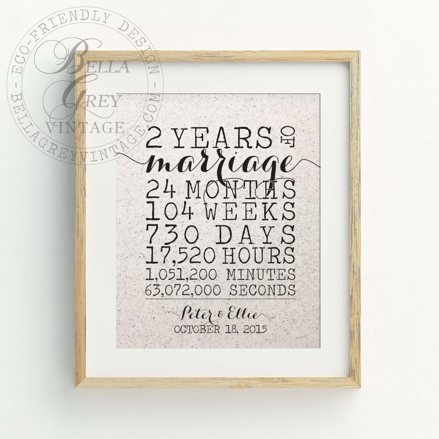 Personalized 2nd Cotton Anniversary Gift, 2 Year Wedding