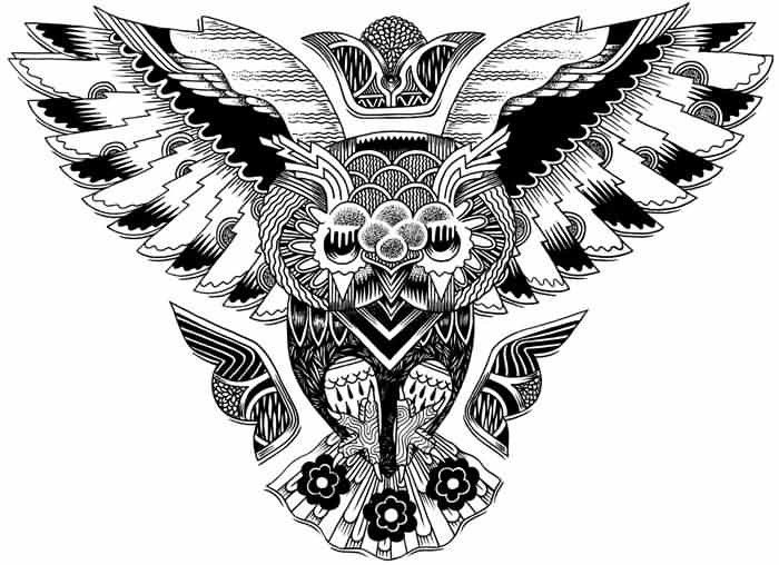 Tribal Style Black And White Owl Shaped Emblem Tattoo Tattoos Re Owl Tattoo Chest Owl Tattoo Design Tattoo Design Drawings