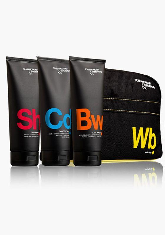 Scaramouche & Fandango - Male Grooming & Skincare | Wash Bag Shower Set #ScaramoucheandFandango #Scaramouche #Fandango #shampoo #hair #grooming #men #beauty #products #holland #conditioner #bodywash #body #wash #skincare #giftset #gift #set