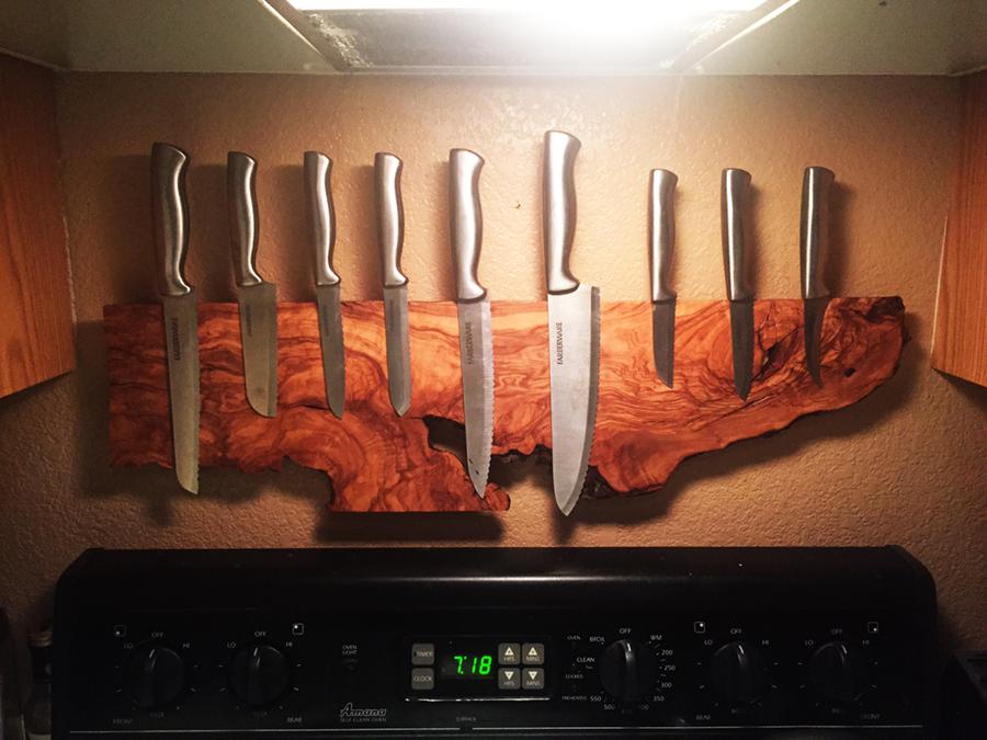 Knife Rack Oc Kitchen Wall Design Wood Projects Wood Diy