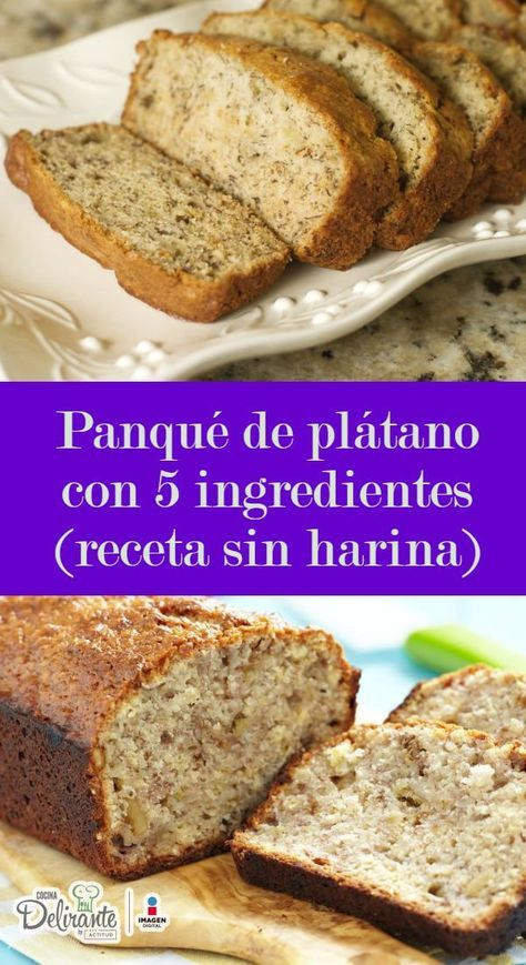Increíble PANQUÉ DE PLÁTANO de 5 ingredientes (receta sin harina ni azúcar refinada) is part of Banana bread - No podrás creer que un panqué tan delicioso sea así de sano